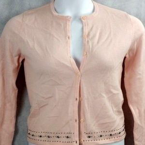 The Limited Pink Wool Beaded Cardi NWT